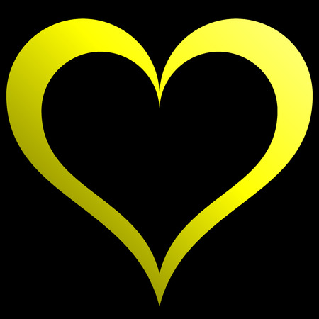Heart symbol icon - yellow outlined gradient, isolated - vector illustration