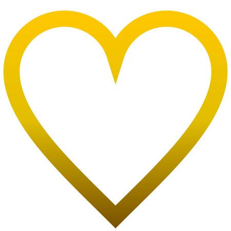 Herzsymbol-Symbol - goldener umrissener Farbverlauf, isoliert - Vektorillustration