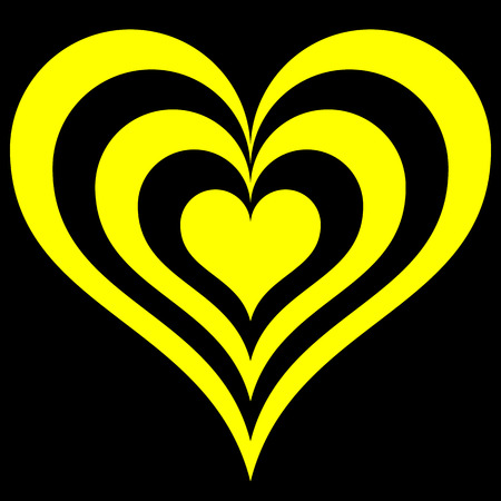 Heart target symbol icon - yellow simple, isolated - vector illustration Çizim