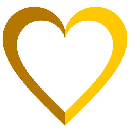 Herzsymbol - golden einfach umrissen, isoliert - Vektorillustration -