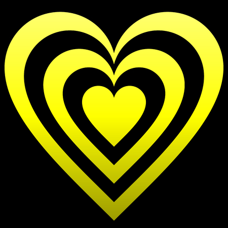 Heart target symbol icon - yellow gradient, isolated - vector illustration