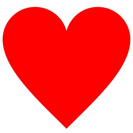 Ikona symbol serca - czerwony prosty, na białym tle - ilustracja wektorowa