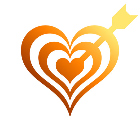 Heart target with arrow symbol icon - orange gradient, isolated - vector illustration