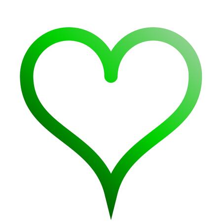 Herzsymbol-Symbol - grün umrissener Farbverlauf, isoliert - Vektorillustration