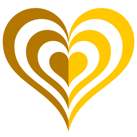 Heart target symbol icon - golden simple, isolated - vector illustration