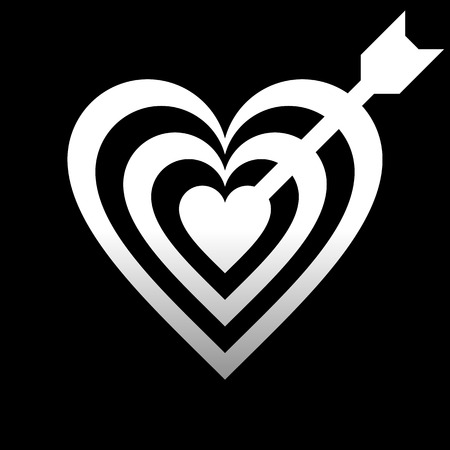 Heart target with arrow symbol icon - white gradient, isolated - vector illustration