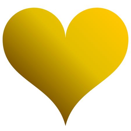 Heart symbol icon - golden gradient, isolated - vector illustration