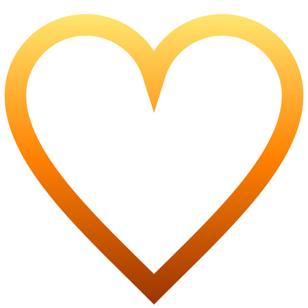 Heart symbol icon - orange outlined gradient, isolated - vector illustration