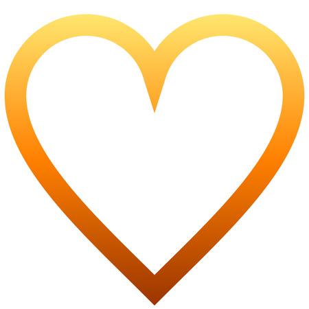 Herzsymbol - orange umrandeten Farbverlauf, isoliert - Vektorillustration