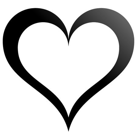 Herzsymbol-Symbol - schwarz umrissener Farbverlauf, isoliert - Vektorillustration