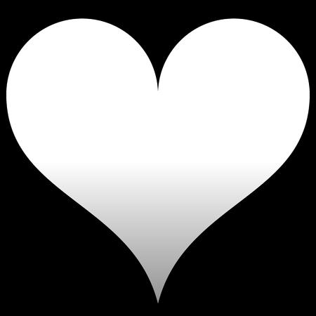 Heart symbol icon - white gradient, isolated - vector illustration