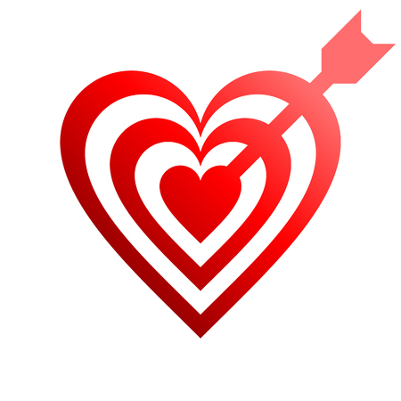 Heart target with arrow symbol icon - red gradient, isolated - vector illustration