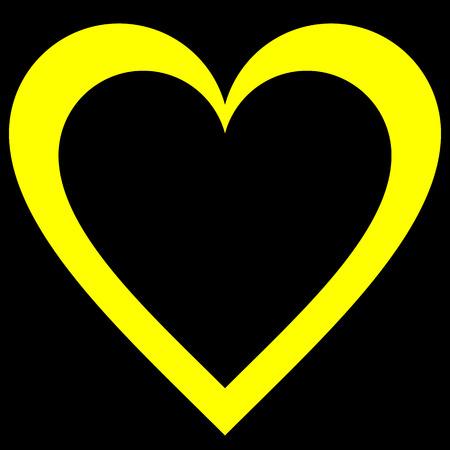 Herzsymbol - gelb einfach umrissen, isoliert - Vektorillustration