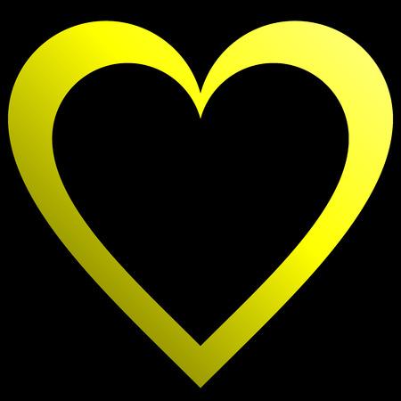 Herzsymbol - gelb umrandete Steigung, isoliert - Vektorillustration