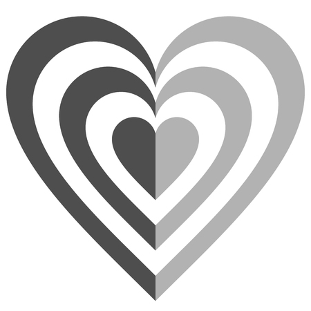 Heart target symbol icon - medium gray simple, isolated - vector illustration