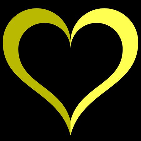 Herzsymbol - gelb einfach umrissen, isoliert - Vektorillustration Vektorgrafik