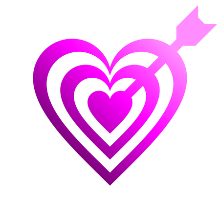 Heart target with arrow symbol icon - purple gradient, isolated - vector illustration