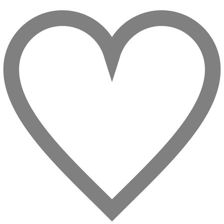 Herzsymbol-Symbol - mittelgrau einfach umrissen, isoliert - Vektorillustration Vektorgrafik