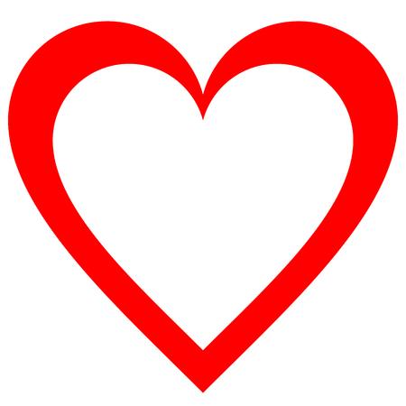 Herzsymbol - rot einfach umrissen, isoliert - Vektorillustration -