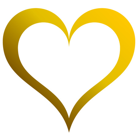 Heart symbol icon - golden outlined gradient, isolated - vector illustration