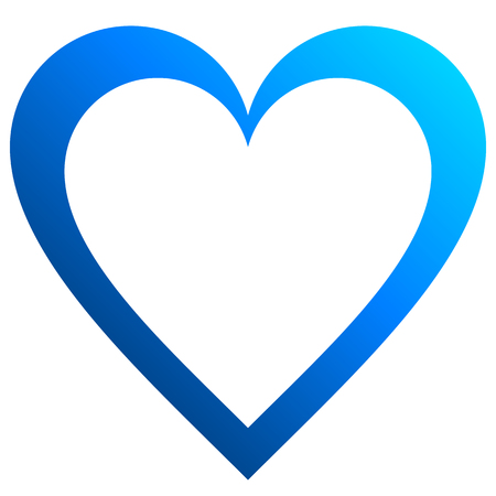 Herzsymbol-Symbol - blau umrissener Farbverlauf, isoliert - Vektorillustration