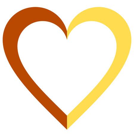 Herzsymbol - Orange einfach umrissen, isoliert - Vektorillustration
