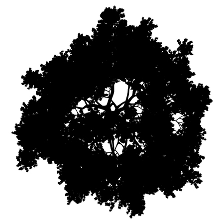 Tree top silhouette isolé - noir simple détaillé - vector illustration