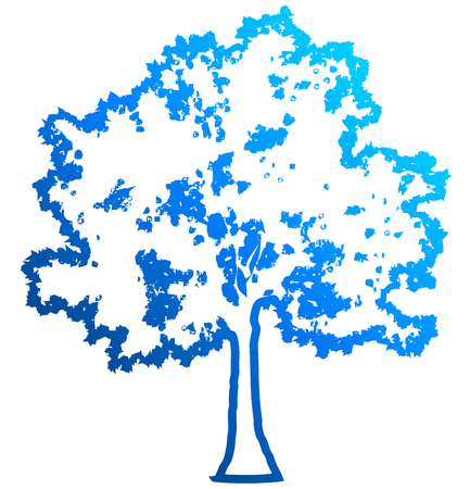 Tree profile silhouette isolated - blue outlined gradient detailed - vector illustration