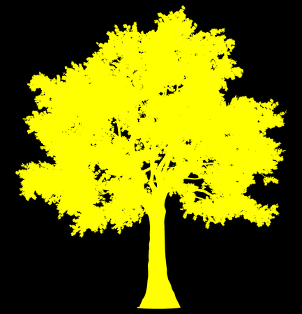 Tree profile silhouette isolated - yellow simple detailed - vector illustration