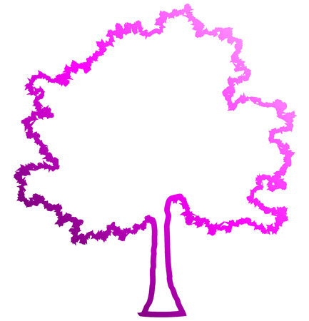 Tree profile silhouette isolated - purple outlined gradient detailed - vector illustration