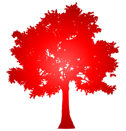 Tree profile silhouette isolated - red gradient detailed - vector illustration