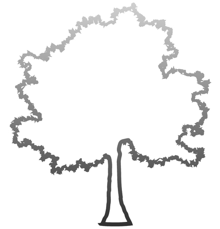 Tree profile silhouette isolated - medium gray outlined gradient detailed - vector illustration