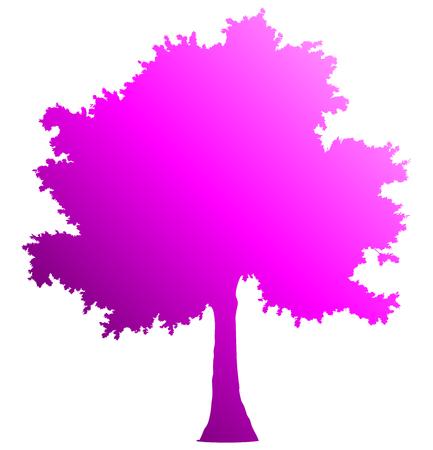 Tree profile silhouette isolated - purple gradient detailed - vector illustration Illustration