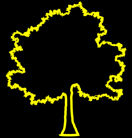 Tree profile silhouette isolated - yellow outlined detailed - vector illustration
