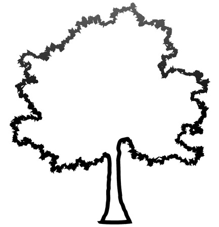 Tree profile silhouette isolated - black outlined gradient detailed - vector illustration