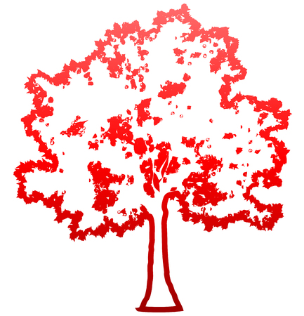 Tree profile silhouette isolated - red outlined gradient detailed - vector illustration