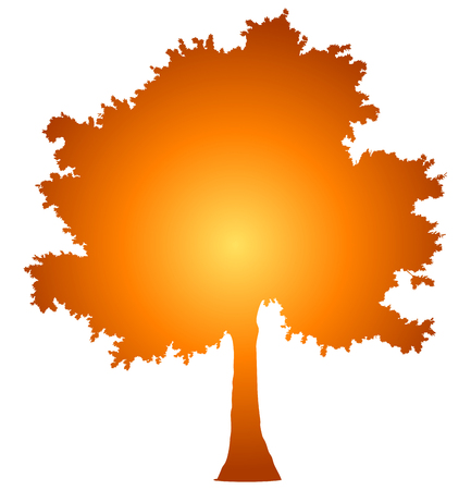 Tree profile silhouette isolated - orange gradient detailed - vector illustration