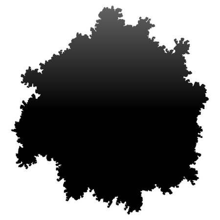 Tree top silhouette isolated - black gradient detailed - vector illustration