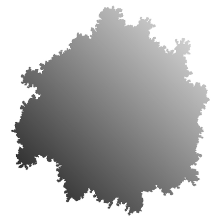 Tree top silhouette isolated - medium gray gradient detailed - vector illustration