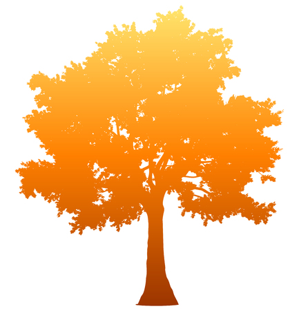 Tree profile silhouette isolated - orange gradient detailed - vector illustration