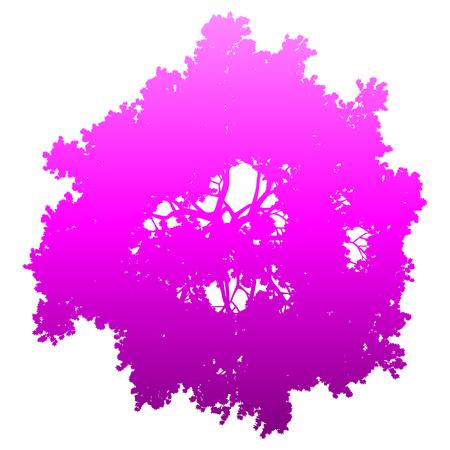 Tree top silhouette isolated - purple gradient detailed - vector illustration Illustration