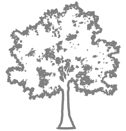 Tree profile silhouette isolated - medium gray outlined detailed - vector illustration