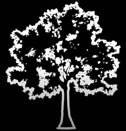 Tree profile silhouette isolated - white outlined gradient detailed - vector illustration