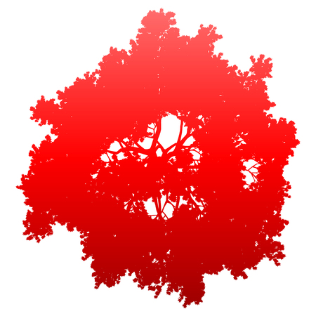 Tree top silhouette isolated - red gradient detailed - vector illustration