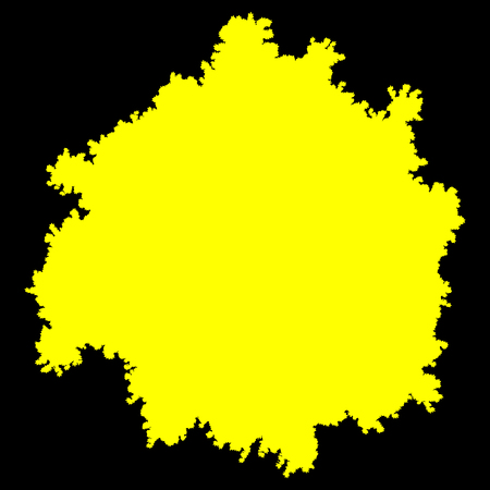 Tree top silhouette isolated - yellow simple detailed - vector illustration