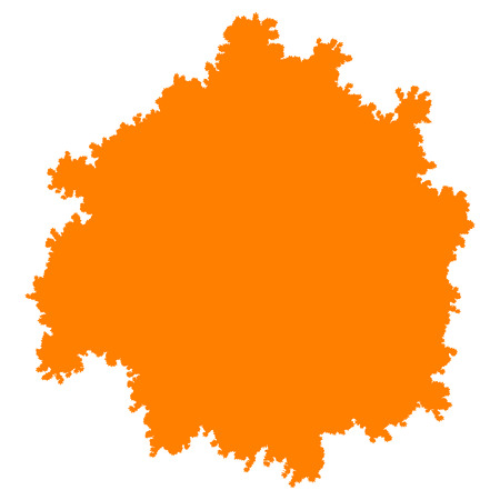 Tree top silhouette isolated - orange simple detailed - vector illustration