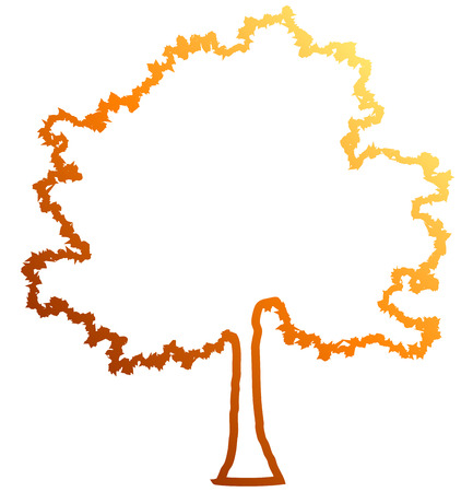 Tree profile silhouette isolated - orange outlined gradient detailed - vector illustration