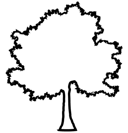 Tree profile silhouette isolated - black outlined detailed - vector illustration