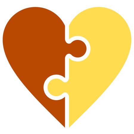 Heart puzzle symbol icon - orange simple, isolated - vector illustration Illustration
