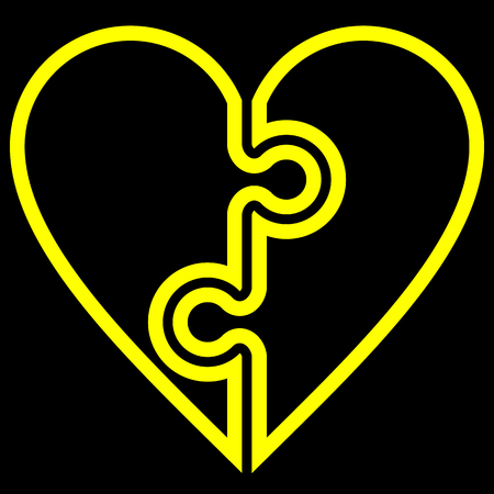 Heart puzzle symbol icon - yellow simple outlined, isolated - vector illustration